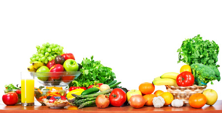 Photo for Fruits and vegetables isolated white background. - Royalty Free Image