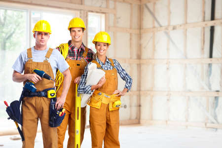 Photo pour Group of construction workers. - image libre de droit