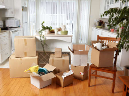 Photo for Moving boxes in new house. - Royalty Free Image