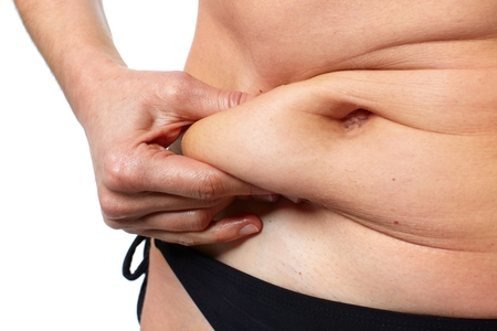Photo for Woman fat belly. - Royalty Free Image
