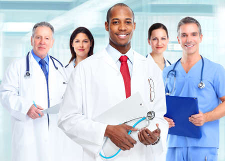 Photo for Medical physician doctor man and group of business people. - Royalty Free Image