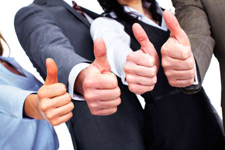 Photo pour Hands of happy business people with thumbs. - image libre de droit