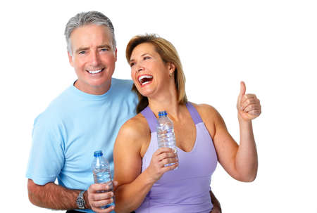 Photo pour Healthy fitness elderly couple. Sport and exercise concept. - image libre de droit