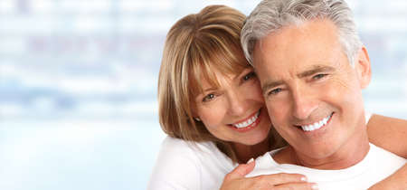 Photo pour Happy Loving couple close up. Healthy white smile. - image libre de droit