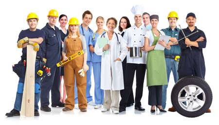 Foto de Group of workers people isolated white background. Teamwork. - Imagen libre de derechos