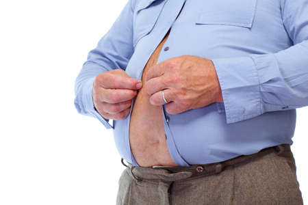 Photo for Senior man with big fat stomach. Obesity concept. - Royalty Free Image