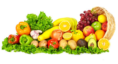 Photo for Vegetables and fruits isolated over white background. Diet and nutrition. - Royalty Free Image
