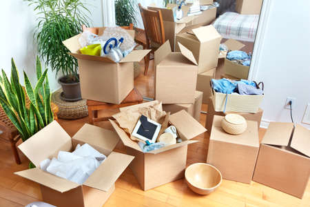 Photo for Moving boxes in new house. Real estate concept. - Royalty Free Image