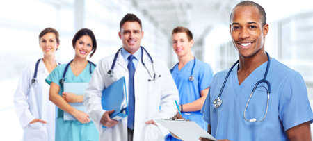 Foto de Group of professional doctors. Health care medical background. - Imagen libre de derechos