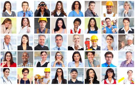 Foto de Business people workers faces collage background. Teamwork concept. - Imagen libre de derechos