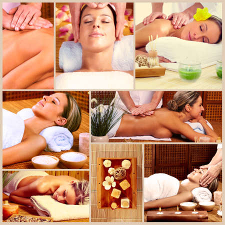 Spa massage collage background