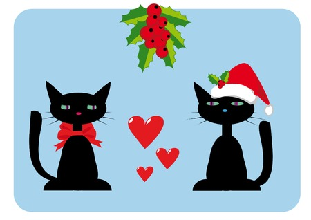Christmas illustration with two cats on blue background