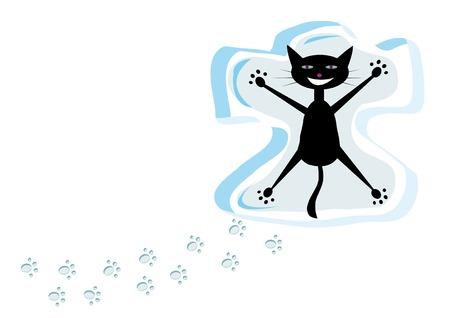Cartoon black cat on snow