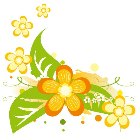 Illustration pour Bright summer background with abstract orange flowers. Vector illustration. - image libre de droit