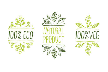 Ilustración de Hand-sketched typographic elements. Natural product labels. Suitable for ads, signboards, packaging and identity and web designs - Imagen libre de derechos