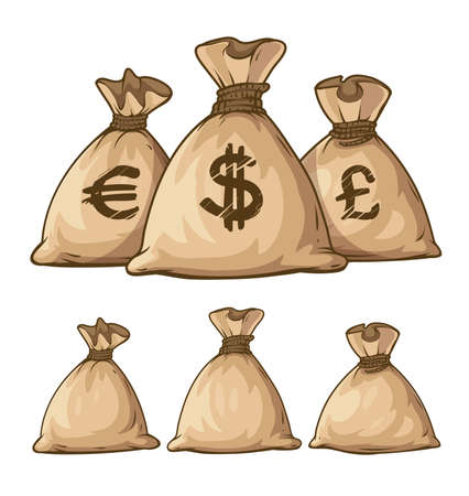 Illustration pour Cartoon full sacks with money. Eps10 vector illustration. Isolated on white background - image libre de droit