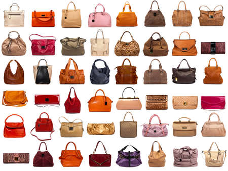 Foto de Female bags collection on white background - Imagen libre de derechos