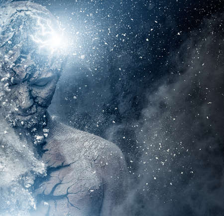 Foto de Man with conceptual spiritual body art - Imagen libre de derechos