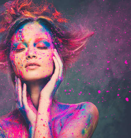 Photo for Young woman muse with creative body art and hairdo  - Royalty Free Image