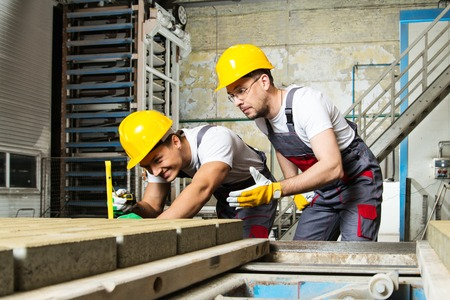 Foto de Worker and foreman in a safety hats performing quality check on a factory   - Imagen libre de derechos
