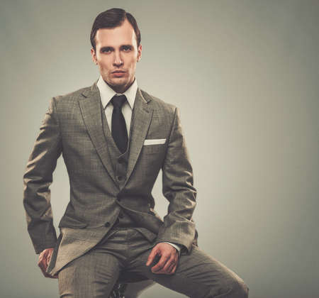 Photo for Well-dressed man in grey suit - Royalty Free Image