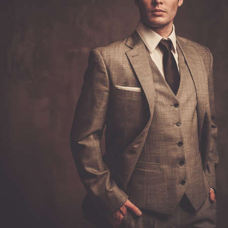 Photo pour Well-dressed man in grey suit - image libre de droit