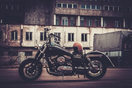 Foto de Custom made bobber motorcycle on a road - Imagen libre de derechos