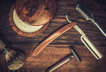 Photo for Shaving accessories on a luxury wooden background - Royalty Free Image