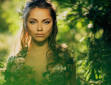 Photo for Elf woman in a magical forest - Royalty Free Image