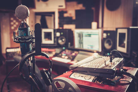 Photo for Close-up of boutique recording studio control desk. - Royalty Free Image