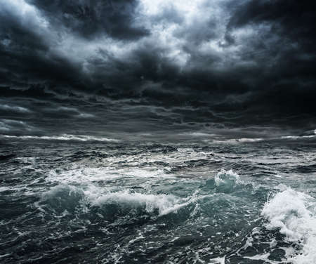 Photo for Dark stormy sky over ocean with big waves - Royalty Free Image