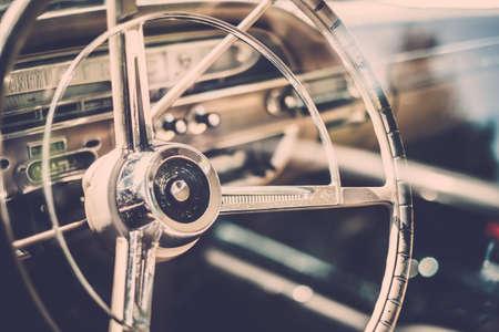 Photo pour Interior of a classic american car  - image libre de droit