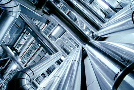 Photo pour Industrial zone, Steel pipelines, valves and ladders - image libre de droit