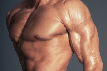 Body of muscular man. Horizontal studio shot