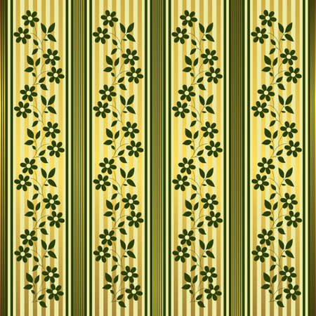 Green and golden floral stripes background mural