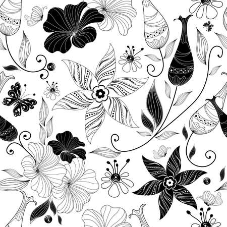 Seamless white floral pattern with vintage elements (vector) mural