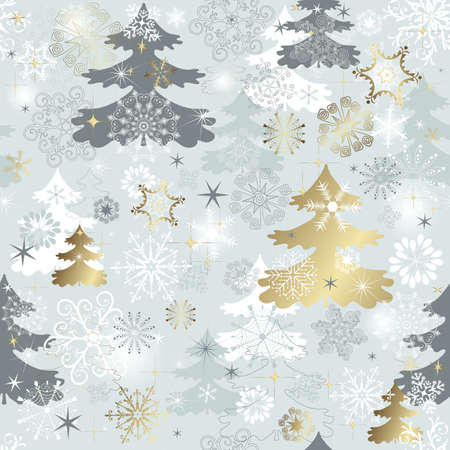 Illustration for Winter seamless pattern with  varied snowflakes, christmas trees and gold stars (vector) - Royalty Free Image