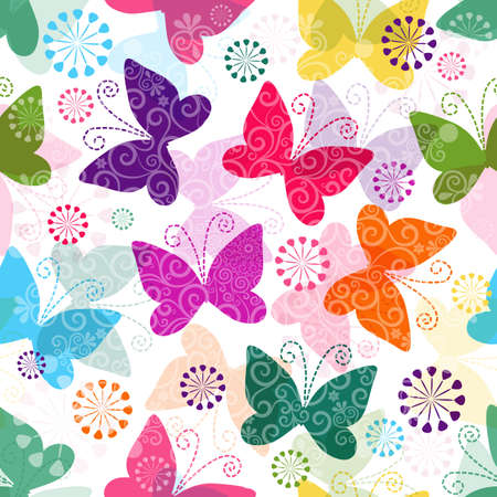 Illustration for Spring seamless pattern with colorful and transparent butterflies   - Royalty Free Image