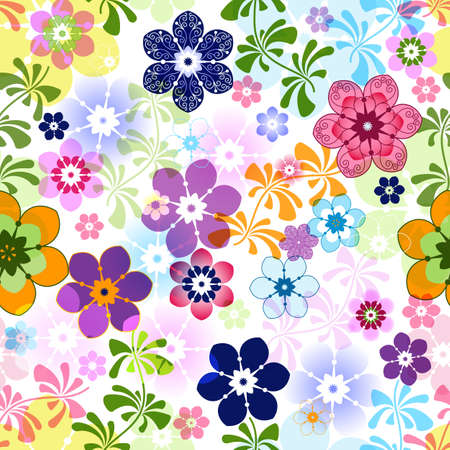 Illustration for Spring colorful seamless floral pattern with transparent flowers (vector EPS 10) - Royalty Free Image