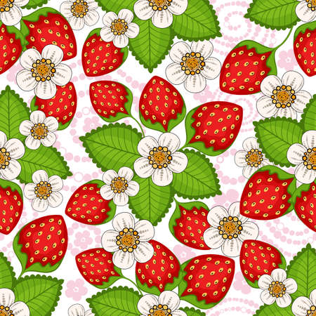 Illustration for Seamless spring floral pattern with strawberries and flowers (vector) - Royalty Free Image