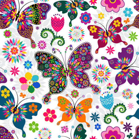 Seamless spring white floral pattern with colorful butterflies and flowers