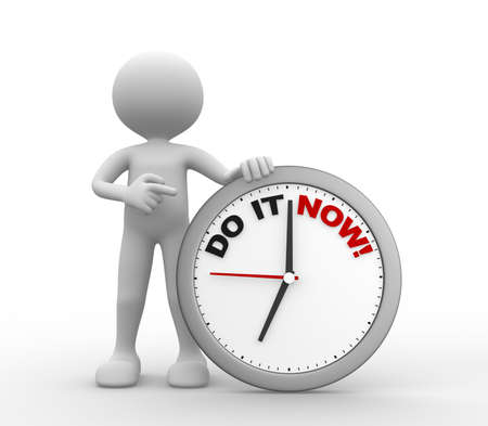 Photo for 3d people - man, person with a clock and text do it now - Royalty Free Image