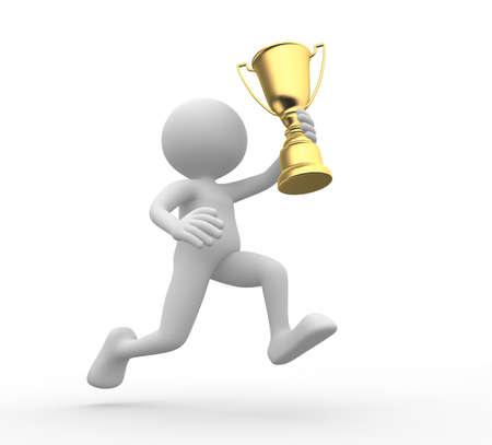 Foto de 3d people - man, person holding golden trophy  - Imagen libre de derechos