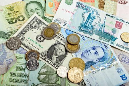 Photo pour Collection of various money to background - image libre de droit