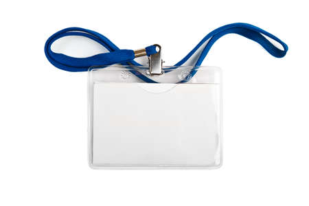 Foto de Badge identification white blank plastic id card  isolated - Imagen libre de derechos