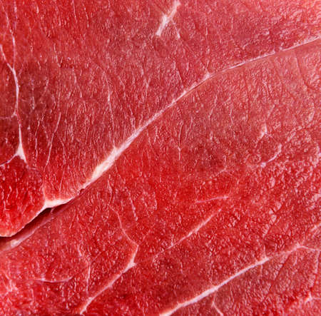 Foto de Raw red beef meat macro texture or background - Imagen libre de derechos