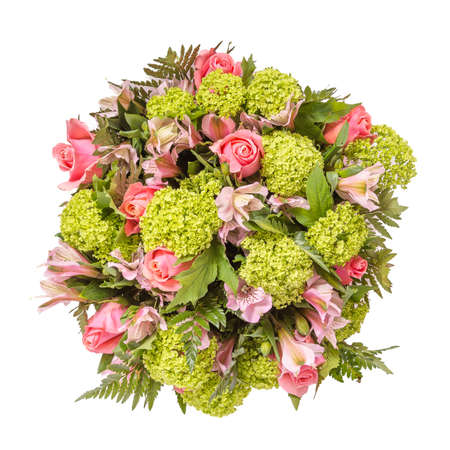 Photo pour Bouquet of flowers top view isolated on white. - image libre de droit