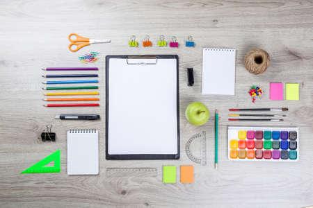 Foto de school supplies with pencils, paint pens paper scissors and rulers. - Imagen libre de derechos
