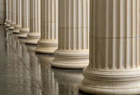 Photo for Many old greek columns with reflection. - Royalty Free Image