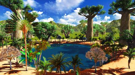 Foto de African savannah with lush and vibrant vegetation by the pool - Imagen libre de derechos